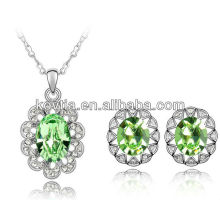 18k white gold jewelry 100% Austrian crystal jewelry set