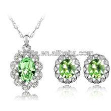 Jóias de ouro branco 18k jóias 100% conjunto de jóias de cristal austríaco