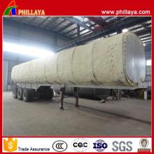 Remorque de camion-citerne d'acier inoxydable de transport de carburant d'huile de lit de tri-essieu élevé