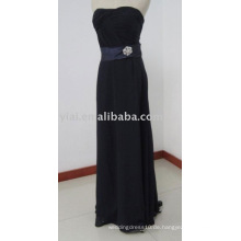 ED5638 Elegantes schwarzes bodenlanges, geschnitztes Chiffon Abendkleid