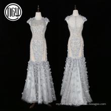 Sirena de lujo respetuosa del medio ambiente del vestido de boda de dubai 3d respetuoso del medio ambiente