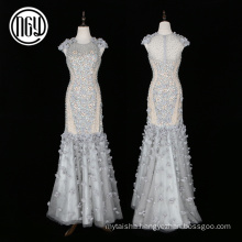 Eco-friendly custom luxury dubai 3d flower wedding dress mermaid