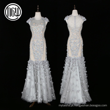 Luxo personalizado Eco-friendly dubai 3d flor vestido de noiva sereia