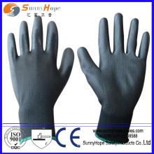 13 gauge polyester liner grey pu glove