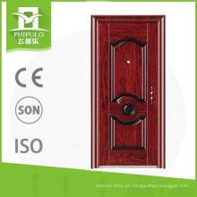Puerta de acero con marco de seguridad de casa móvil.