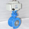 high quality metal sealing ss304 three eccentric butterfly valve with electric actuator