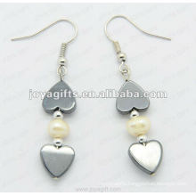 Fashion Hematite Heart Beads Earring;hematite beads and silver color earring findings hematite earrings 2pcs/set