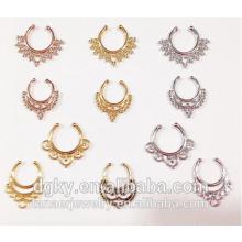 Wholesale cheap indian nose piercing jewelry non pierced brass faux septum