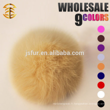 2017 Vente en gros Light Yellow Genuine Rabbit Fur Pom Pom Keychain