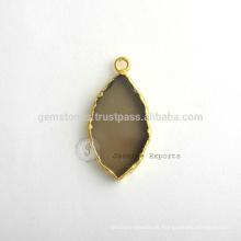 Großhandel Smoky Quartz Edelstein Bezel Charm Handmade Micron Gold überzogen Sterling Silber Lünette Connector und Charm Supplies
