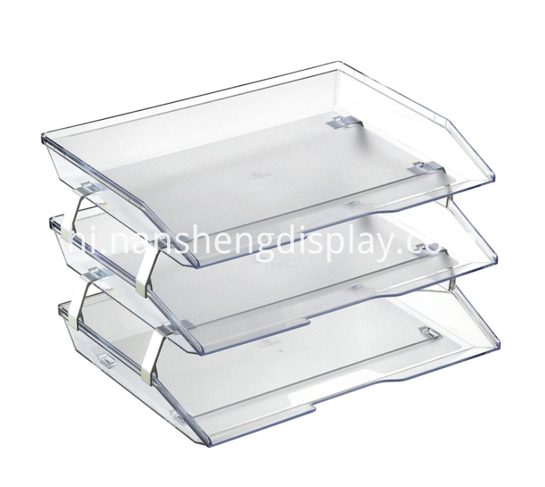 Facility Office Crystal Triple Letter Tray Organizer