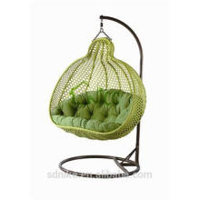 cheap green rattan hanging swing chair