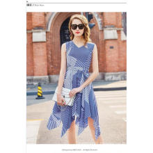 Summer Color Striped Geometry Sleeveless Irregular Charming Women′s Dress