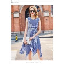 Летние цвета в полоску Геометрия рукавов нерегулярные очаровательная Женская платье