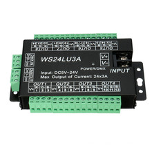 LED 24CH Easy DMX512 DMX Decoder,LED Dimmer Controller, DC5V-24V,Each CH Max 3A,8 Groups RGB controller
