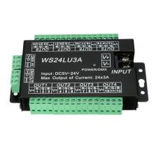 Decodificador fácil DMX512 DMX do diodo emissor de luz 24CH, controlador do dimmer do diodo emissor de luz, DC5V-24V, cada CH Max 3A, controlador de 8 grupos RGB