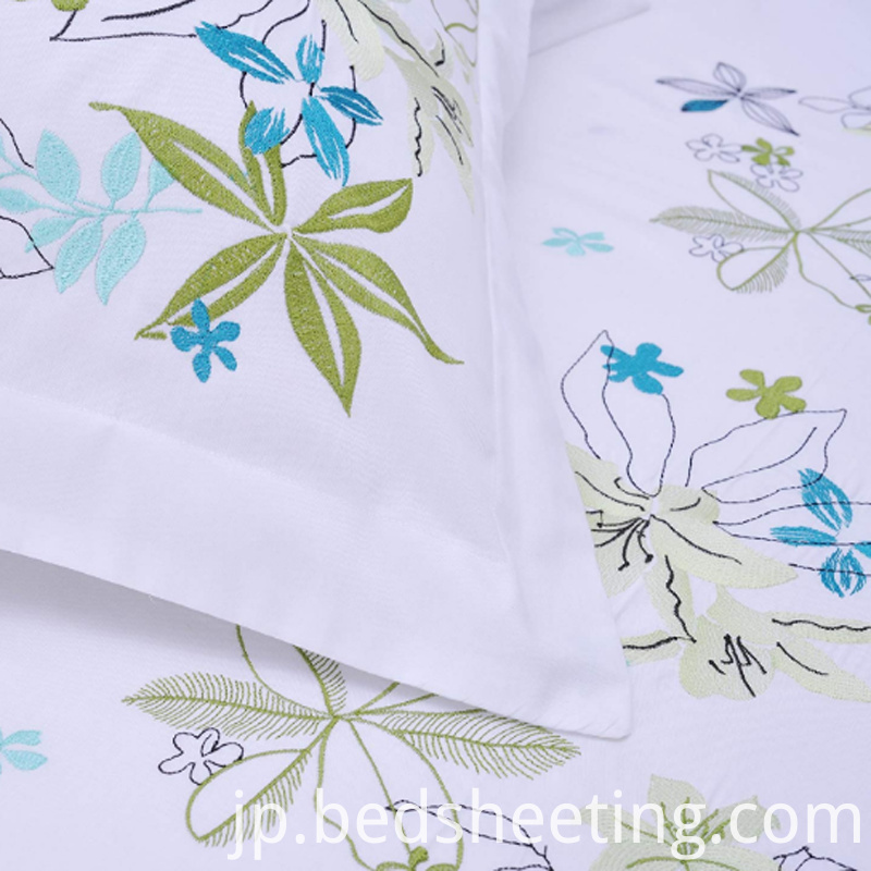 Embroidery On White Cotton Duvet Ccover