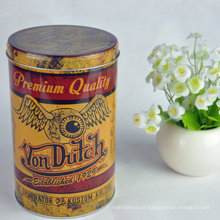 Custom Print Tinplate Round Package Container para chá Embalagem Can Metal Box Tea Tin