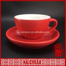 Кофейная кружка и блюдце цветного остекления