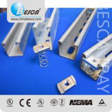 Uni Strut Steel Channel Aluminio / HDG / EZ / Galvanizado / SS304 / SS316 con accesorios