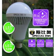 12W lâmpada LED de emergência recarregável com bateria de reserva E27 B22