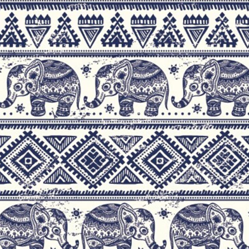 Elephant Printed Organic Cotton Fabric
