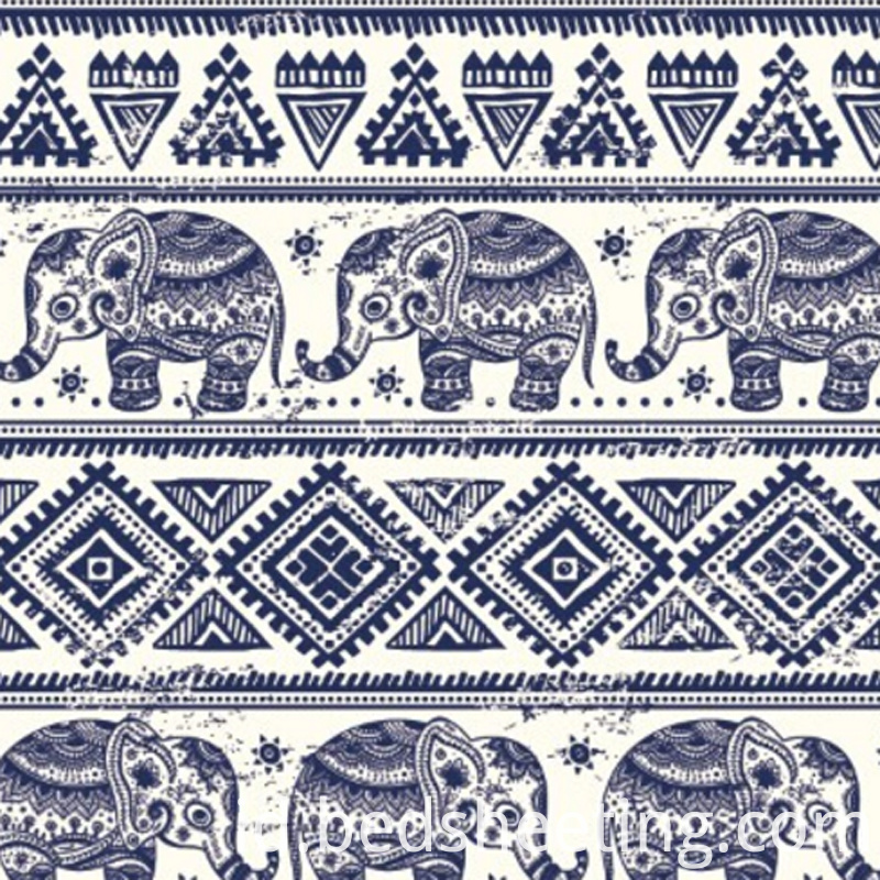 Elephant Printed Organic Cotton Fabric