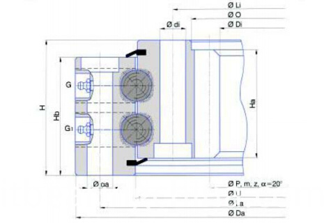 Double row slewing bearing (Internal gear type)