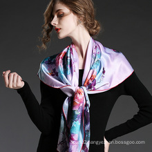 Silk Flower Printed Big Square Scarf