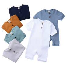 Wholesale Summer Newborn Casual Solid Color Jumpsuit Knitted Pit Pattern Cotton Onesie Infant Baby Rompers