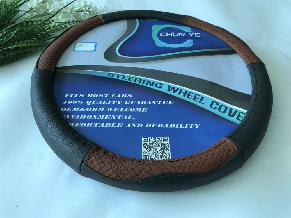 100% genuine leather steering wheel cover