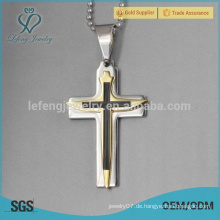 Edelstahl Gold Kreuz Anhänger 22k Goldschmuck für Männer