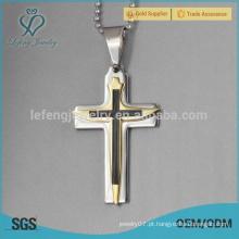 Aço inoxidável ouro cruz pingente jóia de ouro 22k para homens