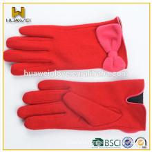 Wholesale Female Custom Wool Gloves,Red Wool Gloves with Pink bowknot on the Wrist