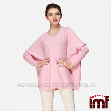 Coreano camisola pura cashmere senhoras suéter rosa