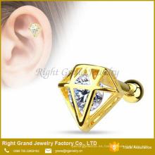 14K chapado en oro de acero inoxidable CZ embutido Diamond Ear Cuff Barbell