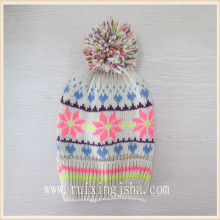 winter snowflake pompom hat