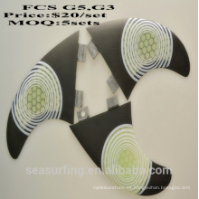 Aletas de tabla de surf FCS G7 Aleta de surf de fibra de vidrio de honecomb blanca