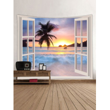 Tapestry Wall Tapestry Wall Hanging Windows Beach Sea Ocean Series Tapestry Tropical Style Sunrise Coconut Tree Tapestry for Bed