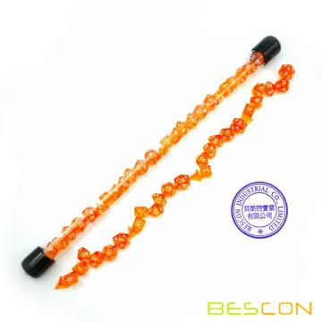 Bescon 28pcs transluzent orange mini polyedrische Würfel Set in Tube, Dungeons und Dragons RPG Würfel 4X7pcs, Mini Gem Dice Set