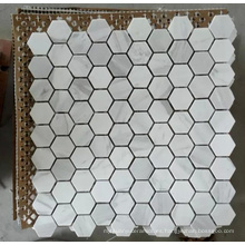 Azulejo de mosaico de piedra de mármol blanco hexagonal (HSM204)