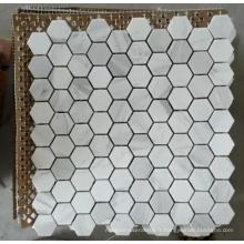 Tuile de mosaïque en pierre de marbre blanc Hexagon (HSM204)