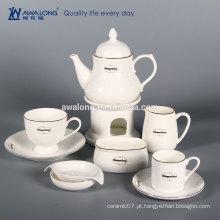 Branco Custom Logo Bone China Parcialmente fino Set de café cerâmico