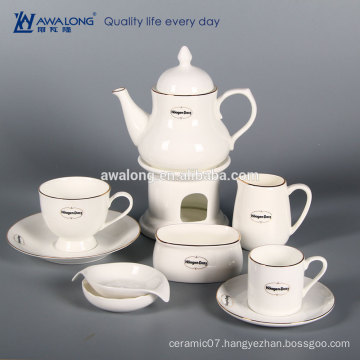 White Custom Logo Bone China Partly Fine Ceramic coffee set