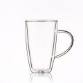 insulated Double Wall Glass Reusable Coffee Cup with handle