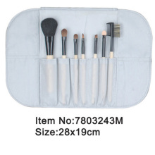7pcs portable white plastic handle animal/nylon hair makeup brush set with satin case