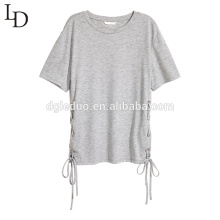 Wholesale fashion o-neck lace-up women blouse shirt