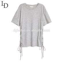 Moda por atacado o-pescoço mulheres lace-up camisa blusa