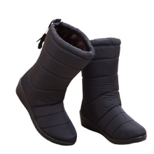 High quality wholesale fall women chunky warm winter high boots casual snow flat rubber base shoe for lady