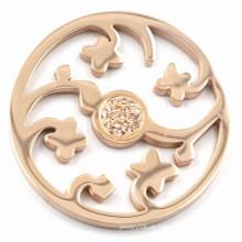 Rose Gold Blume Münze Platte mit Champagner Zirkonia